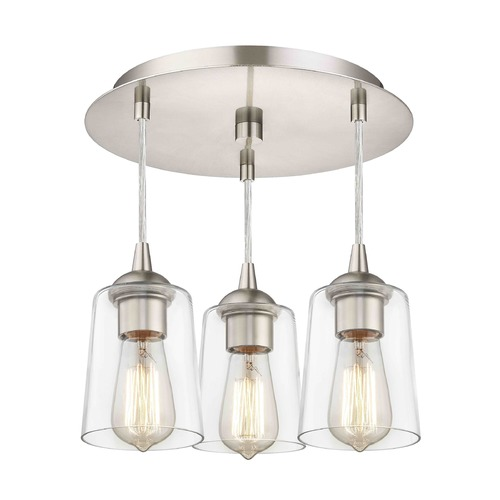 Design Classics Lighting 3-Light Semi-Flush Ceiling Light with Clear Cylinder Glass - Nickel Finish 579-09 GL1027-CLR