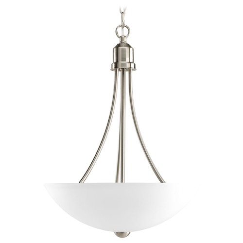 Progress Lighting Progress Pendant Light with White Glass in Brushed Nickel Finish P3914-09