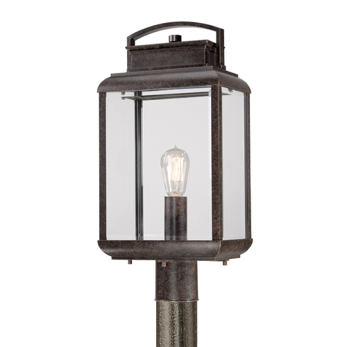Quoizel Lighting Post Light with Clear Glass in Imperial Bronze Finish BRN9010IB