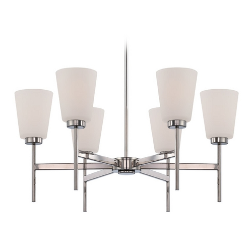 Nuvo Lighting Modern Chandelier with White Glass in Polished Nickel Finish 60/5216