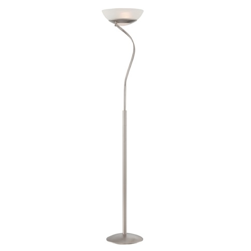 Lite Source Lighting Lite Source Lorraine Satin Chrome Torchiere Lamp with Bowl / Dome Shade LS-82732