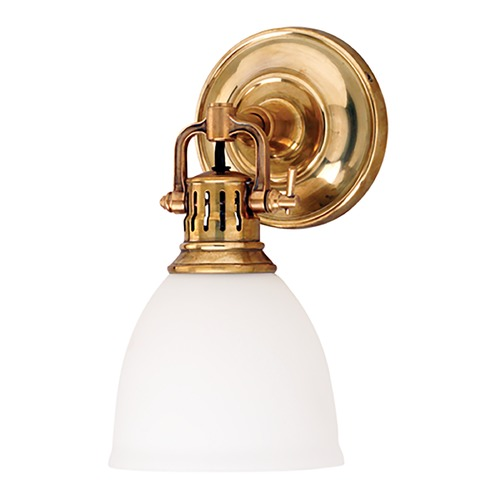Hudson Valley Lighting Sconce Wall Light with White Glass in Aged Brass Finish 2201-AGB