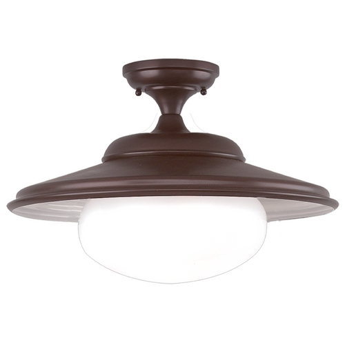 Hudson Valley Lighting Semi-Flushmount Light with White Glass in Old Bronze Finish 9109-OB