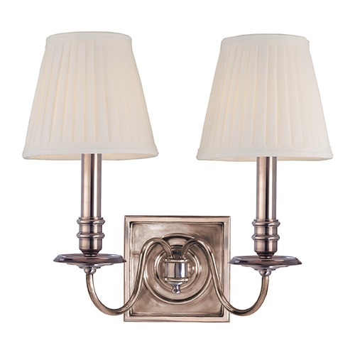 Hudson Valley Lighting Sconce Wall Light with White Shades in Historic Nickel Finish 202-HN