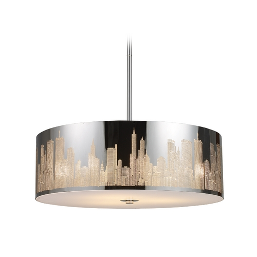 Elk Lighting Modern Drum Pendant Light in Polished Stainless Steel Finish 31039/5