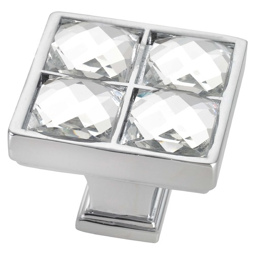 Seattle Hardware Co Chrome Crystal Square Cabinet Knob - Case Pack of 10 - 1-1/4-inch HW12-K-26/C *10 PACK* KIT
