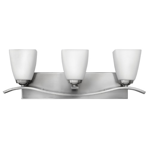 Hinkley Lighting Bathroom Light with White Glass in Brushed Nickel Finish 5373BN