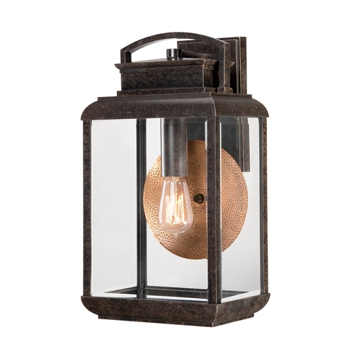 Quoizel Lighting Outdoor Wall Light with Clear Glass in Imperial Bronze Finish BRN8410IB