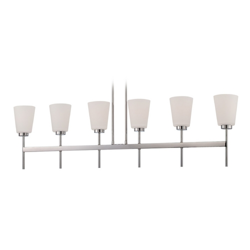 Nuvo Lighting Modern Island Light with White Glass in Polished Nickel Finish 60/5217