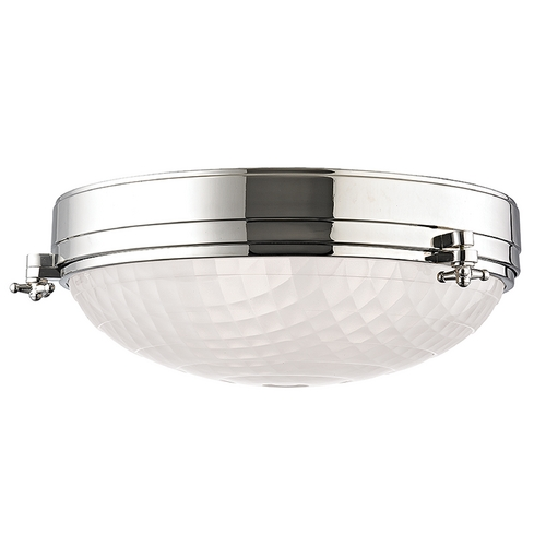 Hudson Valley Lighting Mid-Century Modern Flushmount Light Polished Nickel Belmont by Hudson Valley 8017-PN