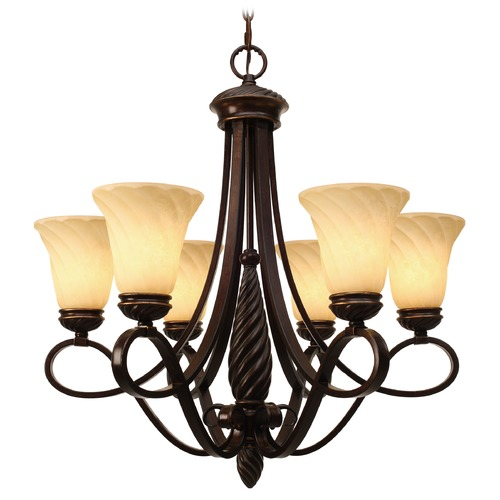 Golden Lighting Golden Lighting Torbellino Cordoban Bronze Chandelier 8106-6 CDB