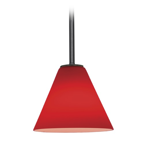 Access Lighting Access Lighting Martini Oil Rubbed Bronze LED Mini-Pendant Light with Conical Shade 28004-3R-ORB/RED