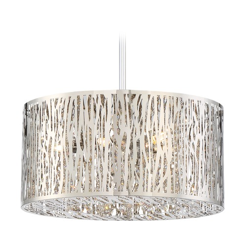 Quoizel Lighting Quoizel Lighting Platinum Grotto Polished Chrome Pendant Light with Drum Shade PCGO1816C