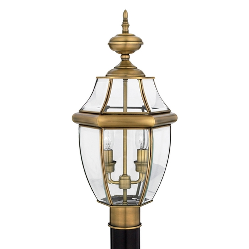 Quoizel Lighting Post Light with Clear Glass in Antique Brass Finish NY9042A