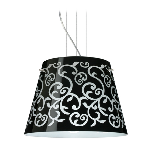 Besa Lighting Modern Drum Pendant Light with Black Glass in Satin Nickel Finish 1KV-4340BD-SN