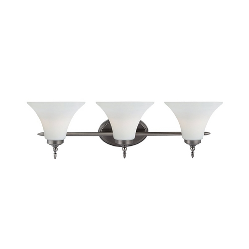 Sea Gull Lighting Bathroom Light with White Glass in Antique Brushed Nickel Finish 41182-965