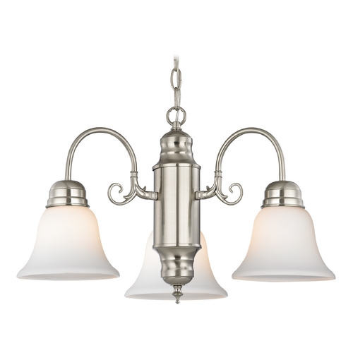 Design Classics Lighting Mini-Chandelier with White Glass in Satin Nickel Finish 708-09 GL1032-WH