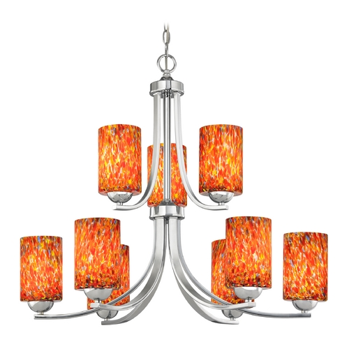 Design Classics Lighting Modern Chandelier with Art Glass in Polished Chrome Finish 586-26 GL1012C
