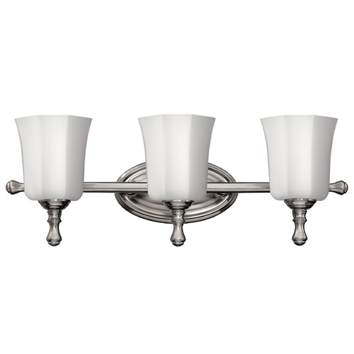 Hinkley Lighting Bathroom Light with White Glass in Brushed Nickel Finish 5013BN