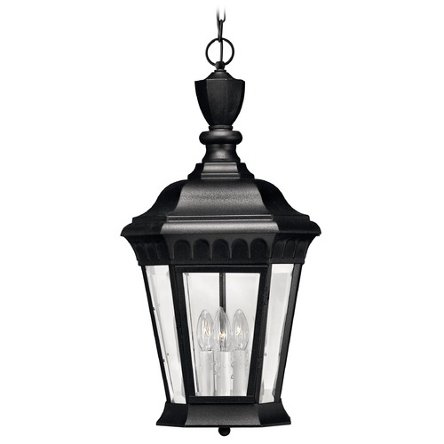 Hinkley Lighting Outdoor Hanging Light with Clear Glass in Black Finish 1702BK