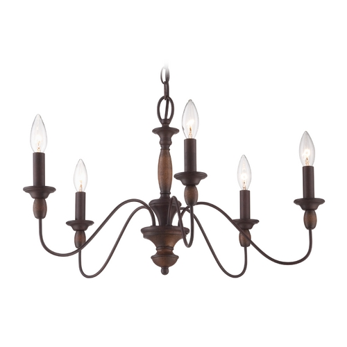 Quoizel Lighting Chandelier in Tuscan Brown Finish HK5005TC