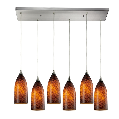 Elk Lighting Modern Multi-Light Pendant Light with Brown Glass and 6-Lights 502-6RC-ES