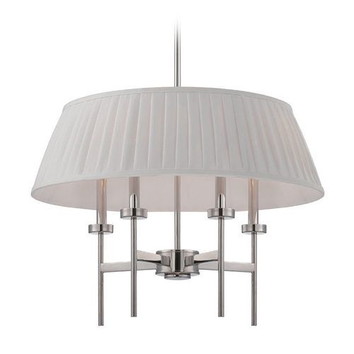 Nuvo Lighting Modern Drum Pendant Light with White Shades in Polished Nickel Finish 60/5218