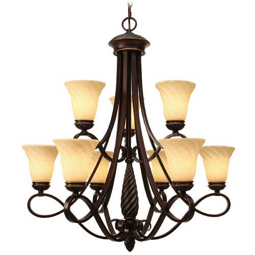 Golden Lighting Golden Lighting Torbellino Cordoban Bronze Chandelier 8106-9 CDB