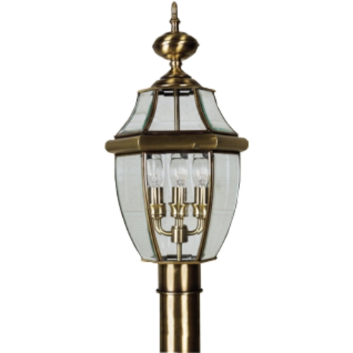 Quoizel Lighting Post Light with Clear Glass in Antique Brass Finish NY9045A