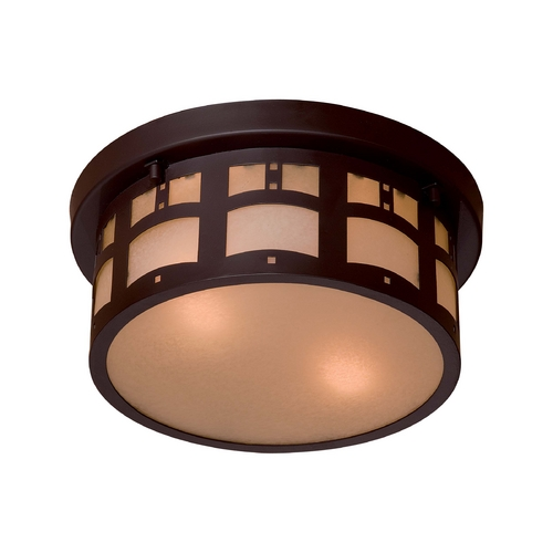 Minka Lavery Close To Ceiling Light with Beige / Cream Glass in Dorian Bronze Finish 8729-A615B