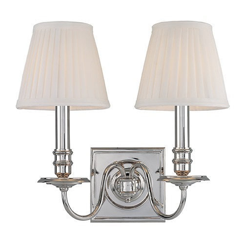 Hudson Valley Lighting Sconce Wall Light with White Shades in Polished Nickel Finish 202-PN
