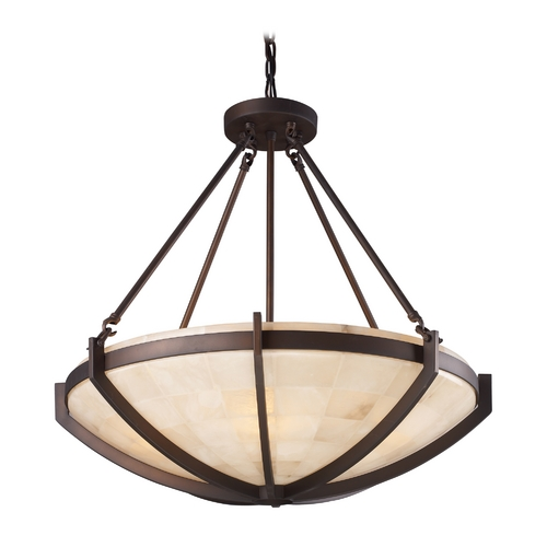 Elk Lighting Modern Pendant Light with Beige / Cream Glass in Aged Bronze Finish 19003/6