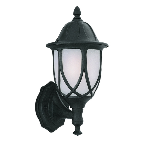 Designers Fountain Lighting Outdoor Wall Light with White Glass in Black Finish 2867-BK