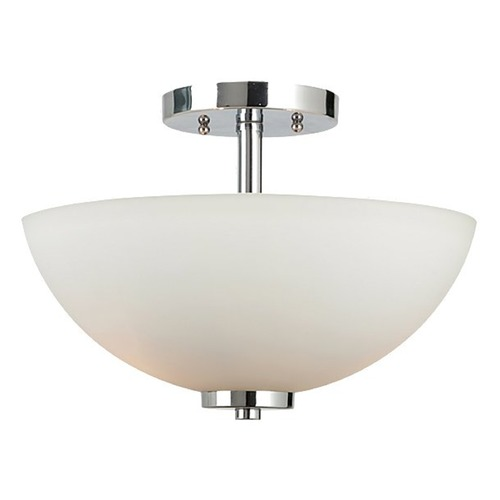 Sea Gull Lighting Modern Semi-Flushmount Light with White Glass in Chrome Finish 77160-05