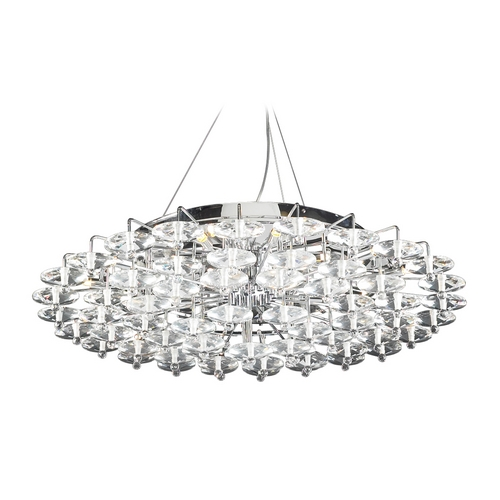 PLC Lighting Modern Pendant Light with Clear Glass in Polished Chrome Finish 96987 PC