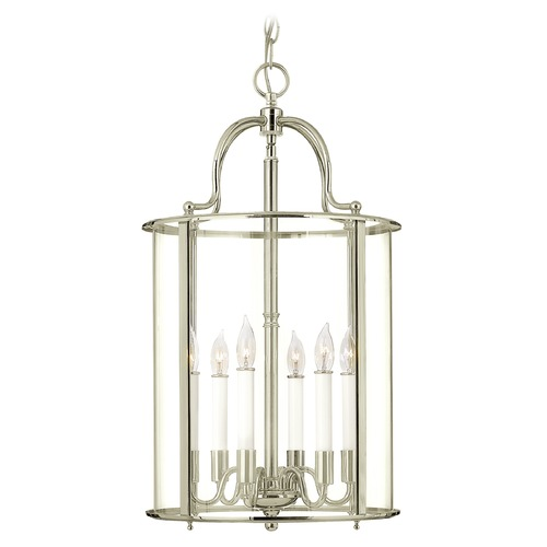 Hinkley Lighting Hinkley Lighting Gentry Polished Nickel Pendant Light with Conical Shade 3478PN