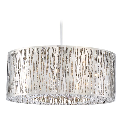 Quoizel Lighting Quoizel Lighting Platinum Grotto Polished Chrome Pendant Light with Drum Shade PCGO1822C