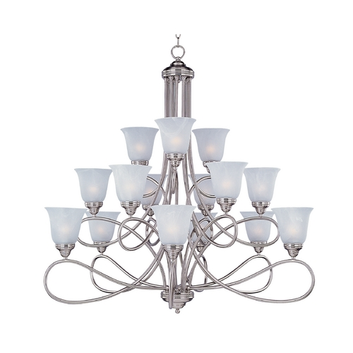 Maxim Lighting Chandelier with White Glass in Satin Nickel Finish 11045MRSN