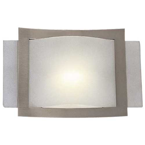Minka Lavery Modern Sconce Wall Light with White Glass in Brushed Nickel Finish 505-84