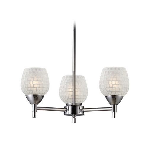 Elk Lighting Mini-Chandelier with Art Glass in Polished Chrome Finish 10154/3PC-WHT
