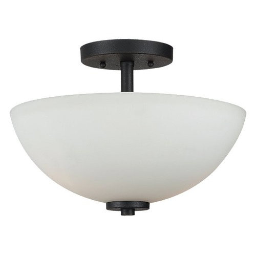 Sea Gull Lighting Modern Semi-Flushmount Light with White Glass in Blacksmith Finish 77160-839