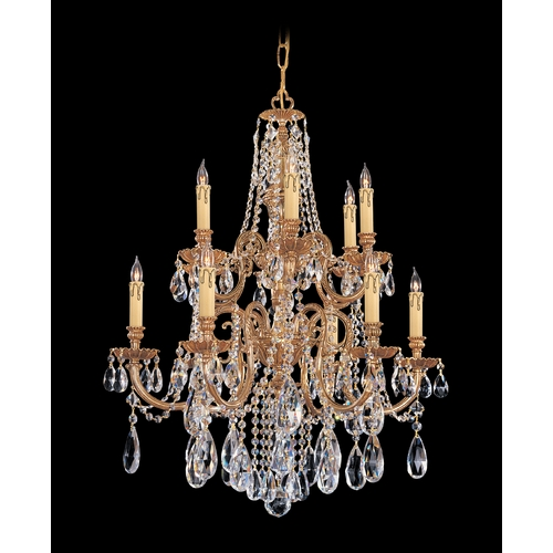 Crystorama Lighting Crystal Chandelier in Olde Brass Finish 2712-OB-CL-SAQ