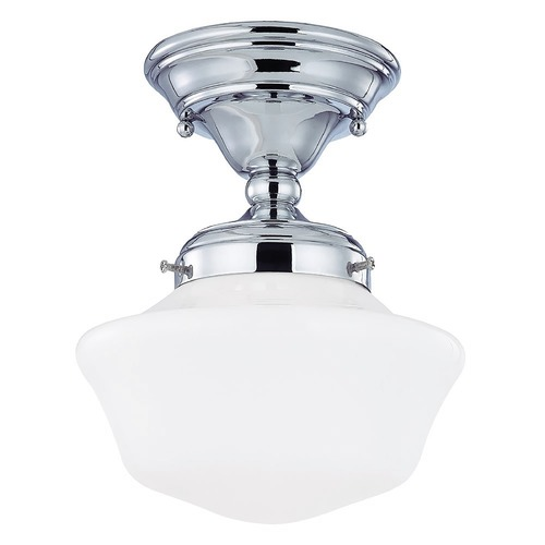 Design Classics Lighting 8-Inch Chrome Schoolhouse Semi-Flushmount Ceiling Light FAS-26 / GA8
