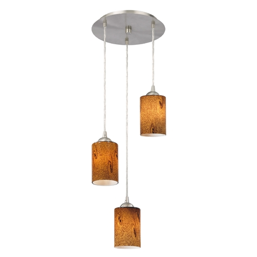 Design Classics Lighting Modern Multi-Light Pendant Light with Brown Art Glass and 3-Lights 583-09 GL1001C