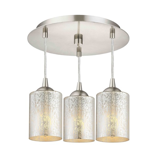Design Classics Lighting 3-Light Semi-Flush Ceiling Light with Mercury Cylinder Glass - Nickel Finish 579-09 GL1039C