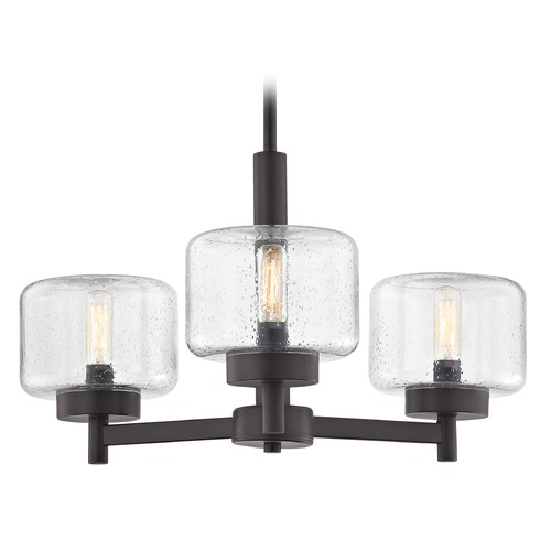 Design Classics Lighting Industrial Seeded Glass Chandelier Bronze 3-Lt 2973-220