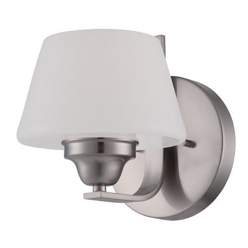Nuvo Lighting Sconce Wall Light with White Glass in Brushed Nickel Finish 60/5221