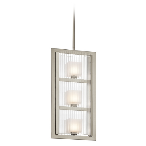 Kichler Lighting Kichler Modern Pendant Light with White Glass in Brushed Nickel Finish 43140NI