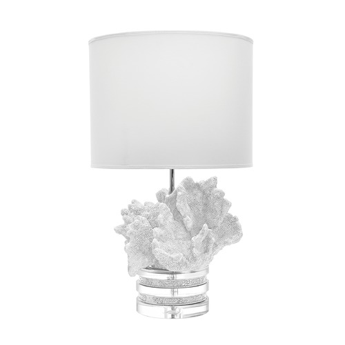Dimond Lighting White Coral And Crystal Lamp With White Suede Shade 225089