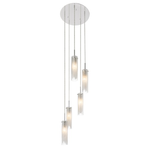 Elan Lighting Elan Lighting Rysalis Chrome Multi-Light Pendant with Cylindrical Shade 83067